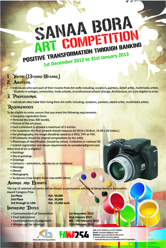 OPPORTUNITY:CALLING ALL PHOTOGRAPHERS | PAINTERS | SCULPTORS | CARICUTURISTS | CARTONISTS AND SKETCH ARTISTS FOR THE SANAA BORA ART COMPETITION